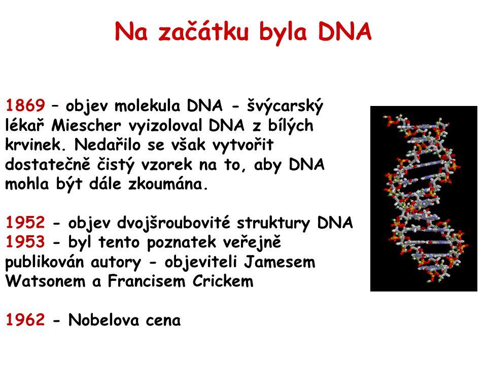 1869 – objev molekula DNA - švýcarský lékař Miescher vyizoloval DNA z bílých krvinek. Nedařilo se však vytvořit dostatečně čistý vzorek na to, aby DNA