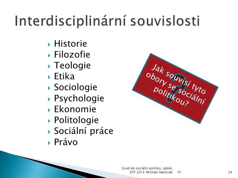  Historie  Filozofie  Teologie  Etika  Sociologie  Psychologie  Ekonomie  Politologie  Sociální práce  Právo 01 Úvod do sociální politiky. J
