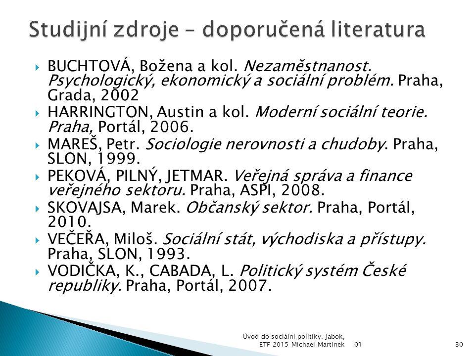  BUCHTOVÁ, Božena a kol. Nezaměstnanost. Psychologický, ekonomický a sociální problém. Praha, Grada, 2002  HARRINGTON, Austin a kol. Moderní sociáln