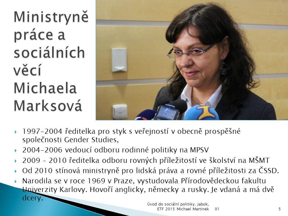 01 Úvod do sociální politiky. Jabok, ETF 2015 Michael Martinek5  1997-2004 ředitelka pro styk s veřejností v obecně prospěšné společnosti Gender Stud