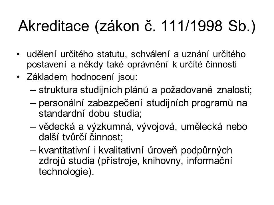 Akreditace (zákon č. 111/1998 Sb.) udělení určitého statutu, schválení a uznání určitého postavení a někdy také oprávnění k určité činnosti Základem h