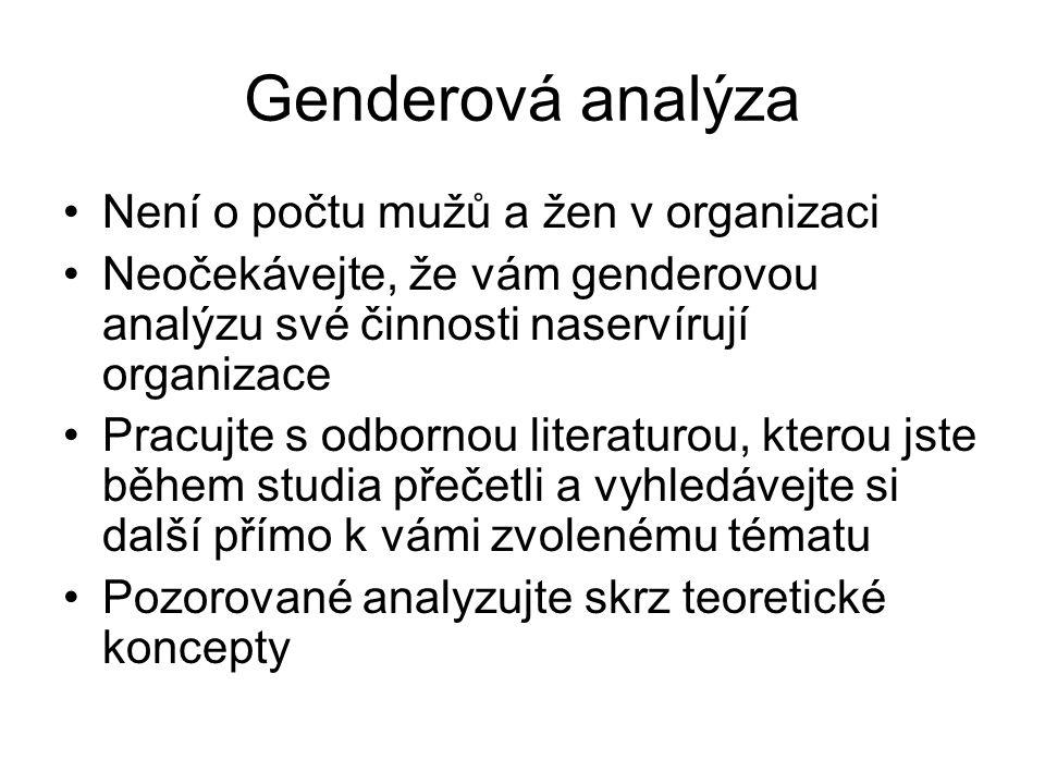 Genderová analýza Není o počtu mužů a žen v organizaci Neočekávejte, že vám genderovou analýzu své činnosti naservírují organizace Pracujte s odbornou