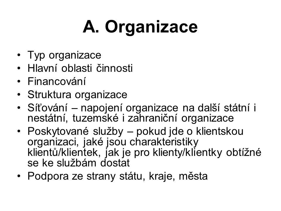A. Organizace Typ organizace Hlavní oblasti činnosti Financování Struktura organizace Síťování – napojení organizace na další státní i nestátní, tuzem