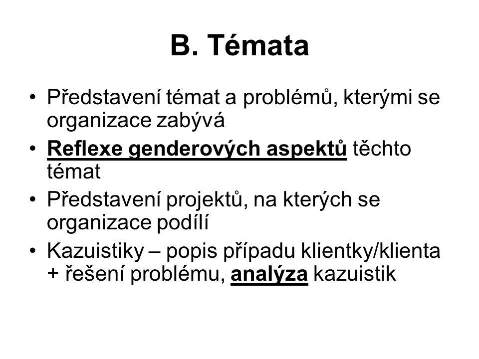 B. Témata Představení témat a problémů, kterými se organizace zabývá Reflexe genderových aspektů těchto témat Představení projektů, na kterých se orga