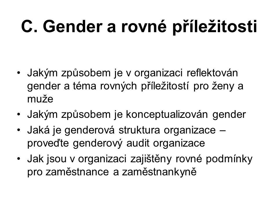 C. Gender a rovné příležitosti Jakým způsobem je v organizaci reflektován gender a téma rovných příležitostí pro ženy a muže Jakým způsobem je koncept