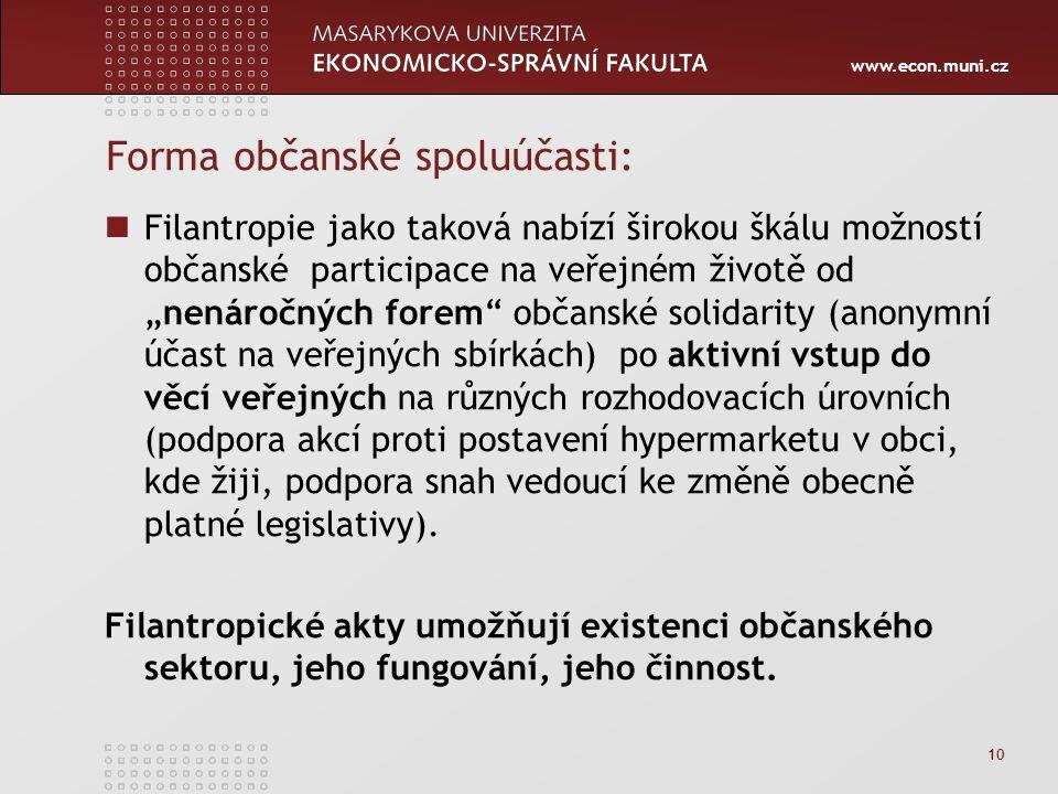 """www.econ.muni.cz 10 Forma občanské spoluúčasti: Filantropie jako taková nabízí širokou škálu možností občanské participace na veřejném životě od """"nenáročných forem občanské solidarity (anonymní účast na veřejných sbírkách) po aktivní vstup do věcí veřejných na různých rozhodovacích úrovních (podpora akcí proti postavení hypermarketu v obci, kde žiji, podpora snah vedoucí ke změně obecně platné legislativy)."""