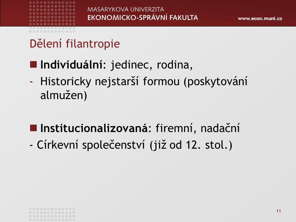 www.econ.muni.cz 11 Dělení filantropie Individuální: jedinec, rodina, -Historicky nejstarší formou (poskytování almužen) Institucionalizovaná: firemní, nadační - Církevní společenství (již od 12.