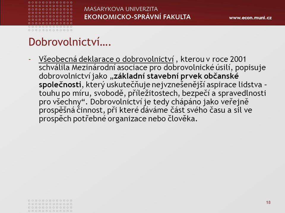 www.econ.muni.cz 18 Dobrovolnictví…. -Všeobecná deklarace o dobrovolnictví, kterou v roce 2001 schválila Mezinárodní asociace pro dobrovolnické úsilí,