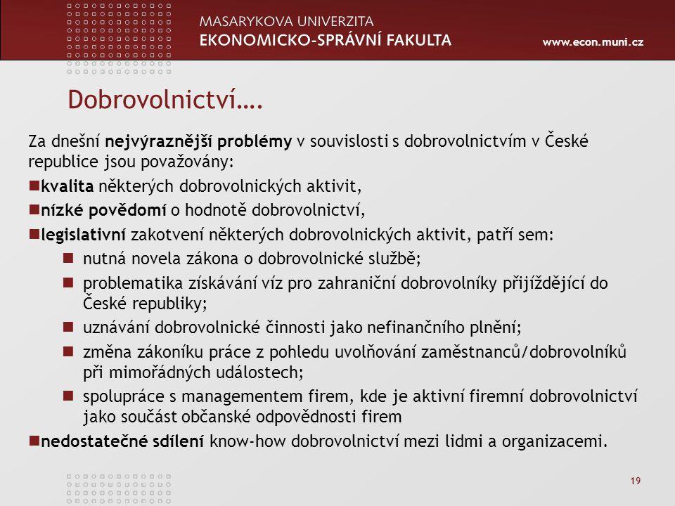 www.econ.muni.cz Dobrovolnictví…. Za dnešní nejvýraznější problémy v souvislosti s dobrovolnictvím v České republice jsou považovány: kvalita některýc