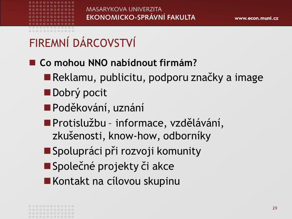 www.econ.muni.cz 29 FIREMNÍ DÁRCOVSTVÍ Co mohou NNO nabídnout firmám.
