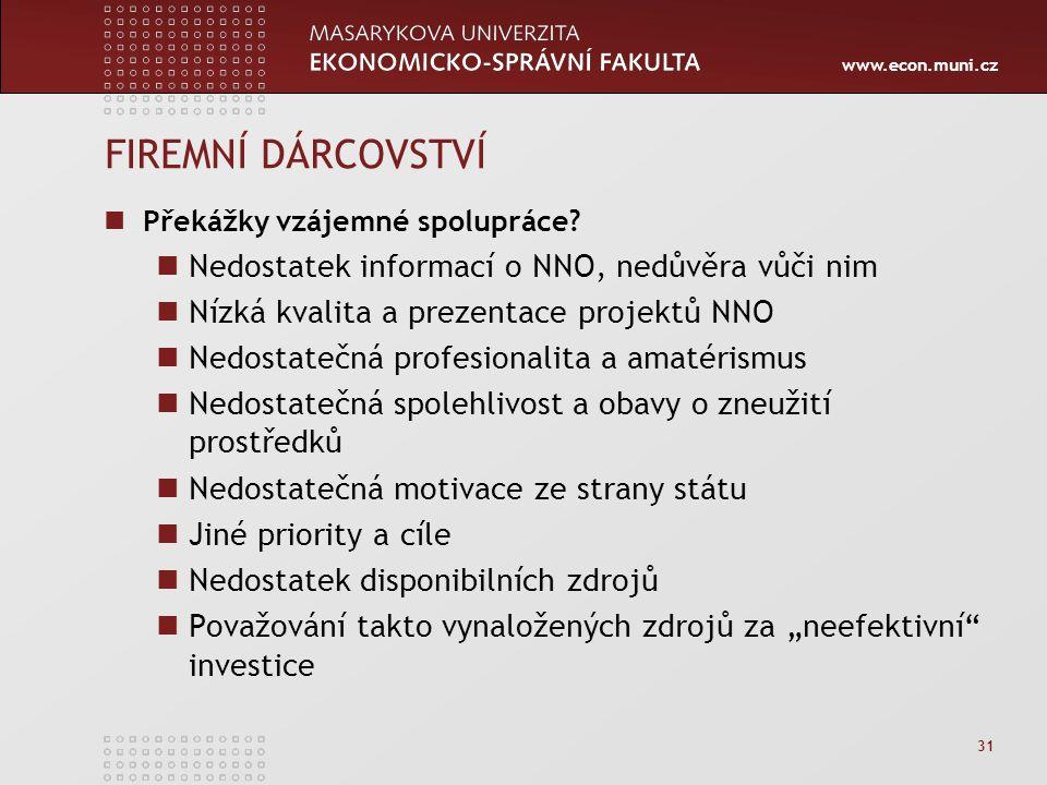 www.econ.muni.cz 31 FIREMNÍ DÁRCOVSTVÍ Překážky vzájemné spolupráce.