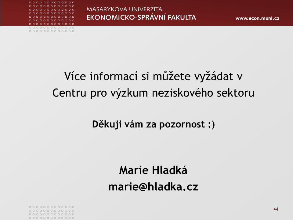 www.econ.muni.cz 44 Více informací si můžete vyžádat v Centru pro výzkum neziskového sektoru Děkuji vám za pozornost :) Marie Hladká marie@hladka.cz