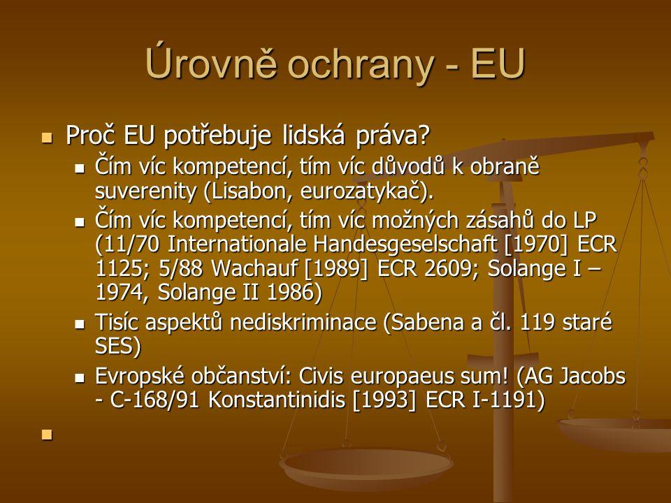 Úrovně ochrany - EU Listina základních práv EU – 2000 – 2009 Listina základních práv EU – 2000 – 2009 Důstojnost Důstojnost Svobody Svobody Rovnost Rovnost Solidarita Solidarita Občanská práva Občanská práva Soudnictví Soudnictví