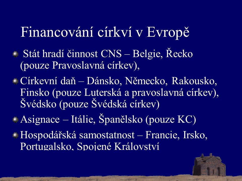 Financování církví v Evropě Stát hradí činnost CNS – Belgie, Řecko (pouze Pravoslavná církev), Církevní daň – Dánsko, Německo, Rakousko, Finsko (pouze Luterská a pravoslavná církev), Švédsko (pouze Švédská církev) Asignace – Itálie, Španělsko (pouze KC) Hospodářská samostatnost – Francie, Irsko, Portugalsko, Spojené Království