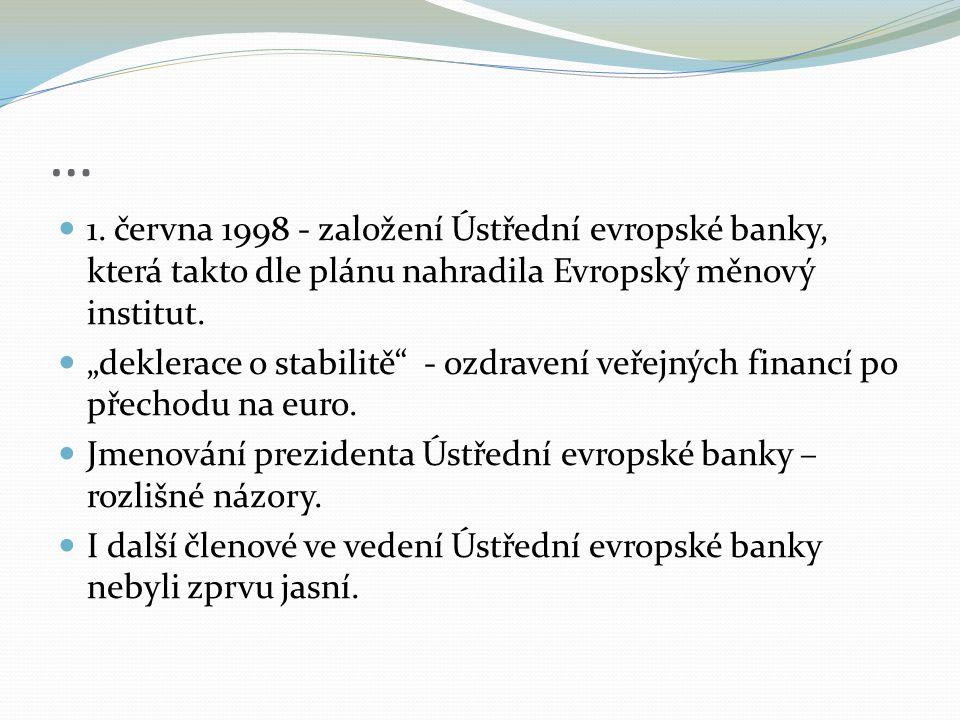 """… 1. června 1998 - založení Ústřední evropské banky, která takto dle plánu nahradila Evropský měnový institut. """"deklerace o stabilitě"""" - ozdravení veř"""
