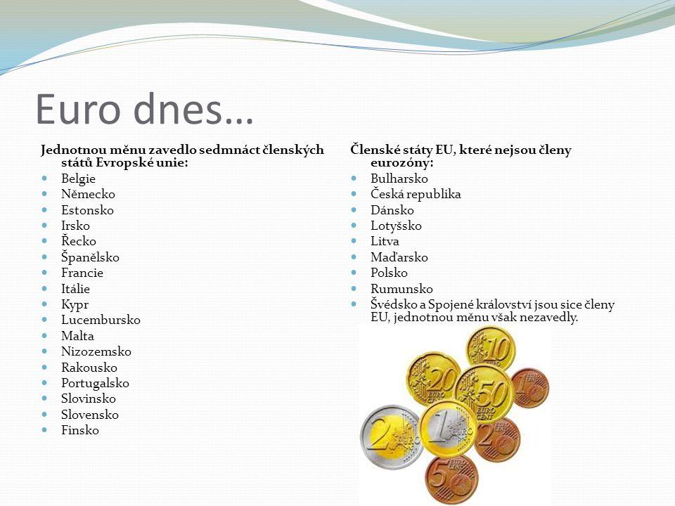 Euro dnes… Jednotnou měnu zavedlo sedmnáct členských států Evropské unie: Belgie Německo Estonsko Irsko Řecko Španělsko Francie Itálie Kypr Lucembursko Malta Nizozemsko Rakousko Portugalsko Slovinsko Slovensko Finsko Členské státy EU, které nejsou členy eurozóny: Bulharsko Česká republika Dánsko Lotyšsko Litva Maďarsko Polsko Rumunsko Švédsko a Spojené království jsou sice členy EU, jednotnou měnu však nezavedly.