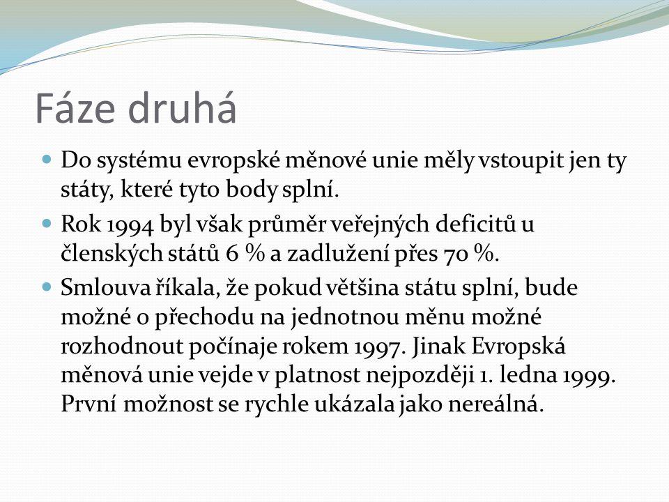 Fáze druhá Do systému evropské měnové unie měly vstoupit jen ty státy, které tyto body splní.