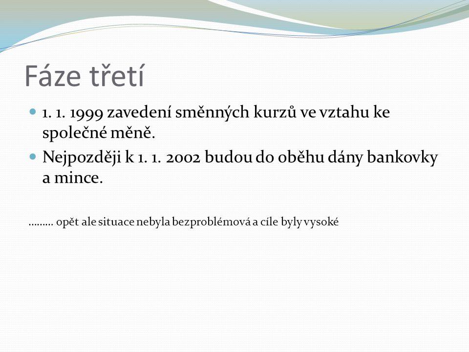 Fáze třetí 1. 1. 1999 zavedení směnných kurzů ve vztahu ke společné měně.
