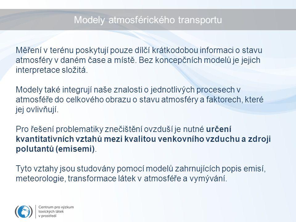 Modely atmosférického transportu Měření v terénu poskytují pouze dílčí krátkodobou informaci o stavu atmosféry v daném čase a místě. Bez koncepčních m