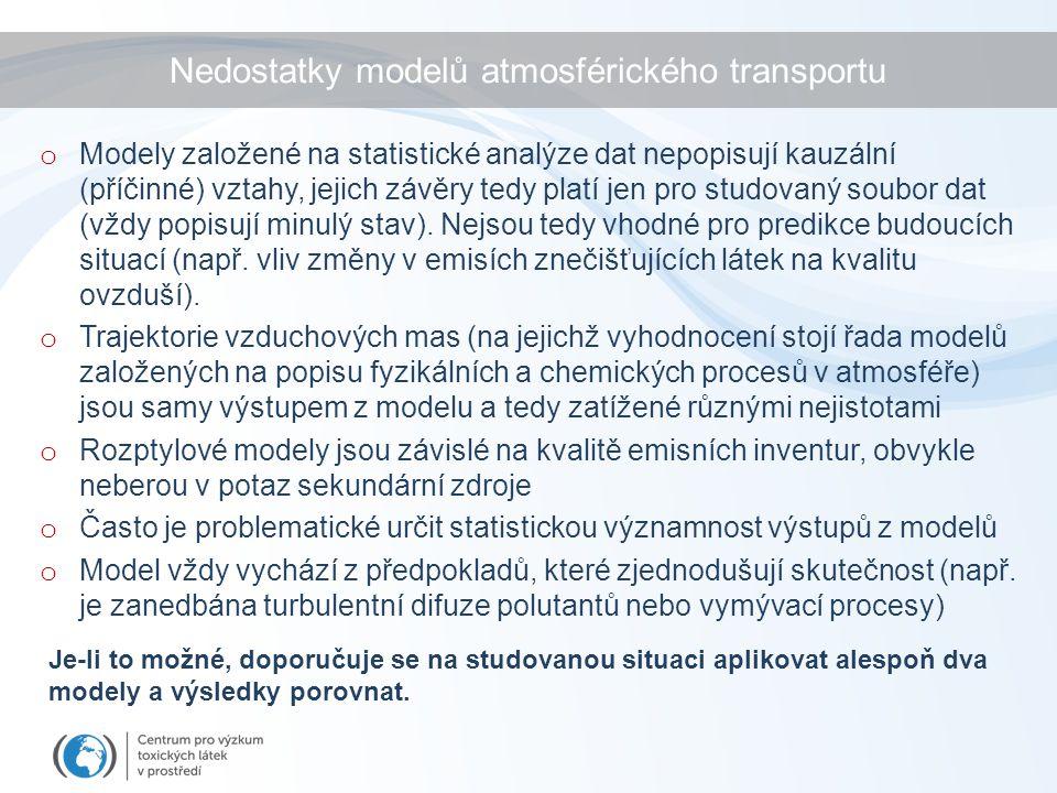 o Modely založené na statistické analýze dat nepopisují kauzální (příčinné) vztahy, jejich závěry tedy platí jen pro studovaný soubor dat (vždy popisu