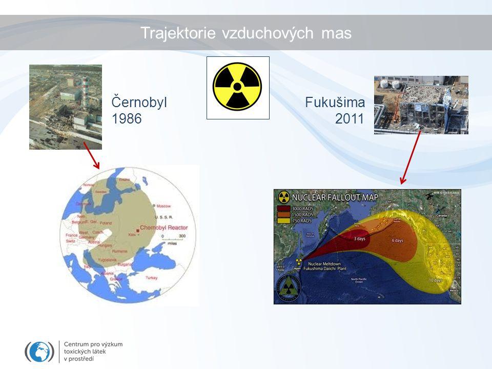 Trajektorie vzduchových mas Fukušima 2011 Černobyl 1986