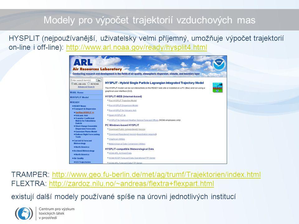 HYSPLIT (nejpoužívanější, uživatelsky velmi příjemný, umožňuje výpočet trajektorií on-line i off-line): http://www.arl.noaa.gov/ready/hysplit4.html TRAMPER: http://www.geo.fu-berlin.de/met/ag/trumf/Trajektorien/index.htmlhttp://www.geo.fu-berlin.de/met/ag/trumf/Trajektorien/index.html FLEXTRA: http://zardoz.nilu.no/~andreas/flextra+flexpart.htmlhttp://zardoz.nilu.no/~andreas/flextra+flexpart.html existují další modely používané spíše na úrovni jednotlivých institucí Modely pro výpočet trajektorií vzduchových mas