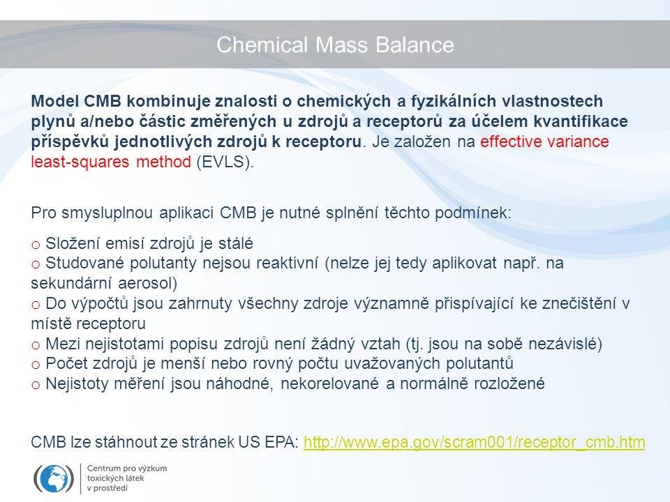 Chemical Mass Balance Model CMB kombinuje znalosti o chemických a fyzikálních vlastnostech plynů a/nebo částic změřených u zdrojů a receptorů za účelem kvantifikace příspěvků jednotlivých zdrojů k receptoru.