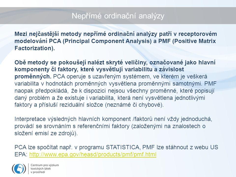 Nepřímé ordinační analýzy Mezi nejčastější metody nepřímé ordinační analýzy patří v receptorovém modelování PCA (Principal Component Analysis) a PMF (Positive Matrix Factorization).