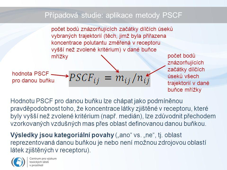 Hodnotu PSCF pro danou buňku lze chápat jako podmíněnou pravděpodobnost toho, že koncentrace látky zjištěné v receptoru, které byly vyšší než zvolené