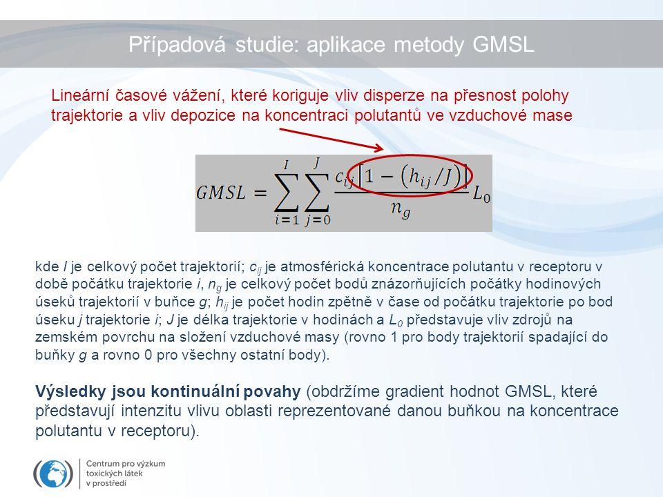 kde I je celkový počet trajektorií; c ij je atmosférická koncentrace polutantu v receptoru v době počátku trajektorie i, n g je celkový počet bodů zná