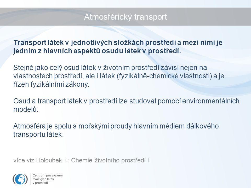 Atmosférický transport Transport látek v jednotlivých složkách prostředí a mezi nimi je jedním z hlavních aspektů osudu látek v prostředí. Stejně jako