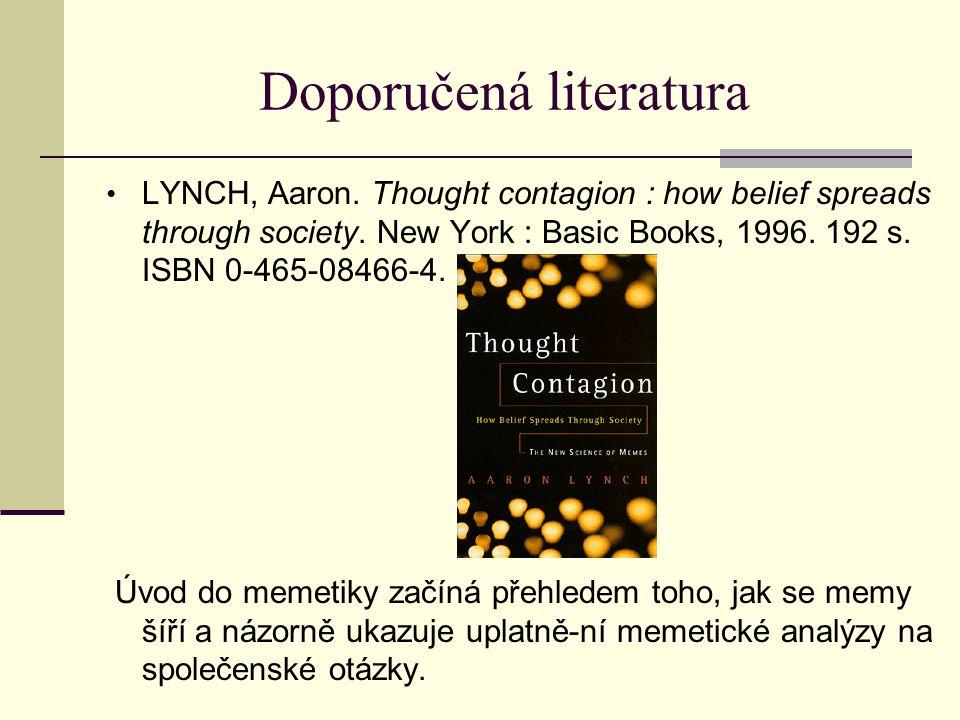 Doporučená literatura LYNCH, Aaron.Thought contagion : how belief spreads through society.