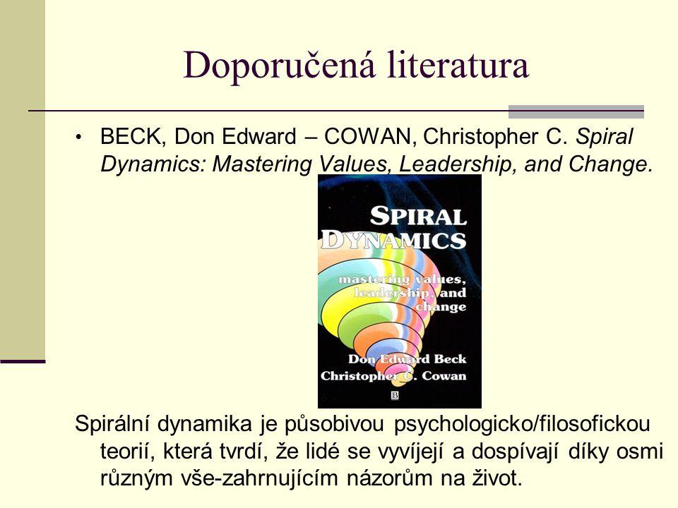 Doporučená literatura BECK, Don Edward – COWAN, Christopher C. Spiral Dynamics: Mastering Values, Leadership, and Change. Spirální dynamika je působiv