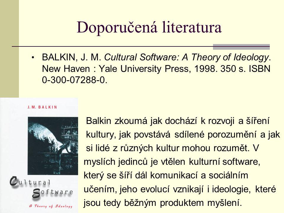 Doporučená literatura BALKIN, J.M. Cultural Software: A Theory of Ideology.