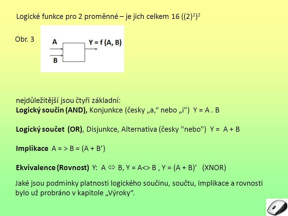 Logické funkce pro 2 proměnné – je jich celkem 16 ((2) 2 ) 2 Jaké jsou podmínky platnosti logického součinu, součtu, implikace a rovnosti bylo už prob