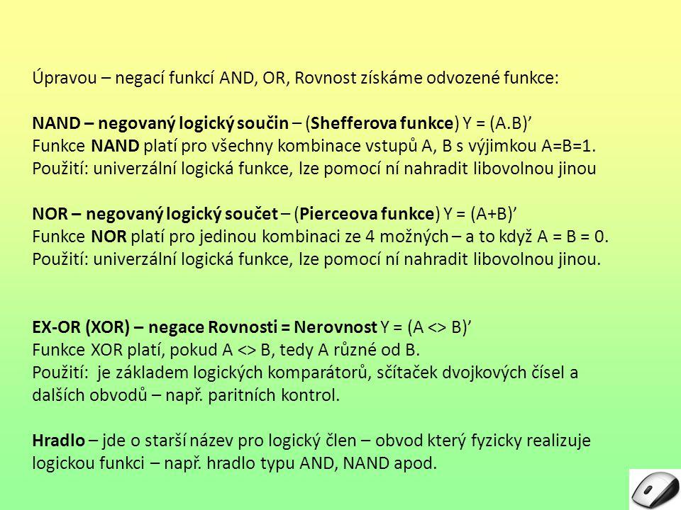 Úpravou – negací funkcí AND, OR, Rovnost získáme odvozené funkce: NAND – negovaný logický součin – (Shefferova funkce) Y = (A.B)' Funkce NAND platí pr