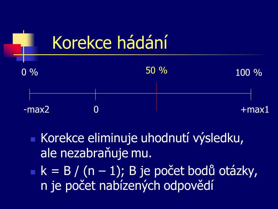 Korekce hádání Korekce eliminuje uhodnutí výsledku, ale nezabraňuje mu. k = B / (n – 1); B je počet bodů otázky, n je počet nabízených odpovědí 0+max1