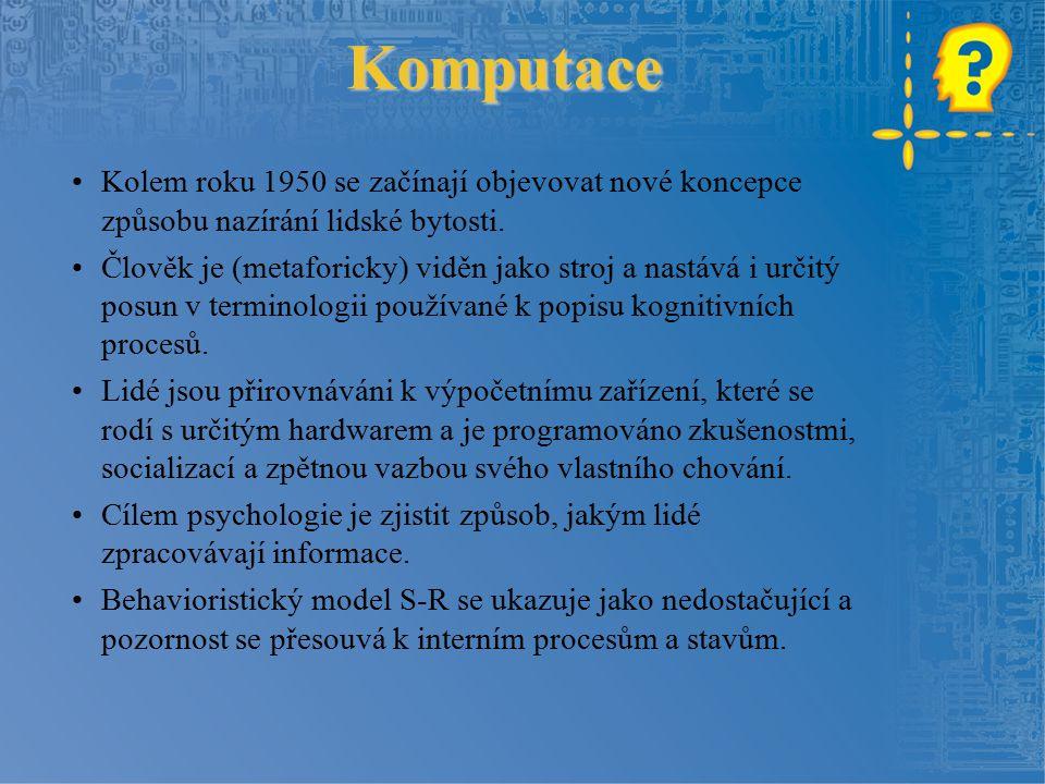 Komputace Kolem roku 1950 se začínají objevovat nové koncepce způsobu nazírání lidské bytosti.
