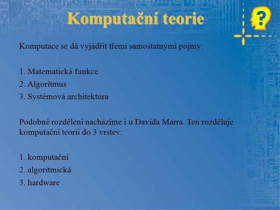 Komputační teorie Komputace se dá vyjádřit třemi samostatnými pojmy: 1.