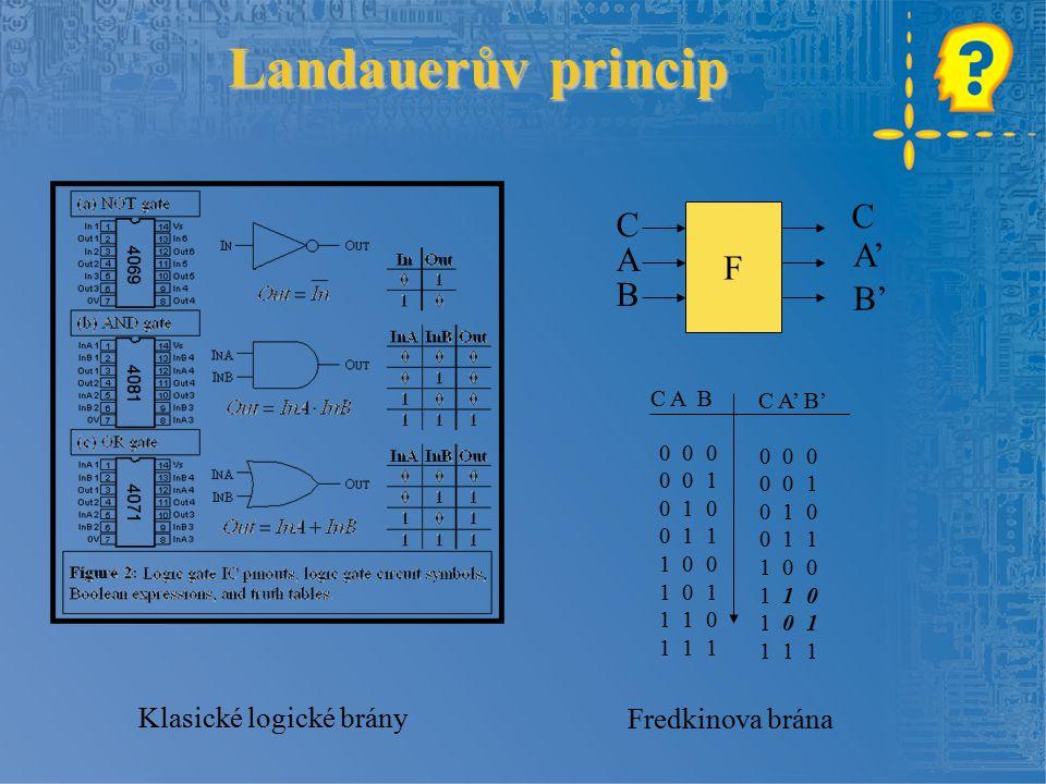 Landauerův princip F C A B C A' B' 0 0 0 0 0 1 0 1 0 0 1 1 1 0 0 1 0 1 1 1 0 1 1 1 0 0 0 0 0 1 0 1 0 0 1 1 1 0 0 1 1 0 1 0 1 1 1 1 C A B C A' B' Klasické logické brány Fredkinova brána