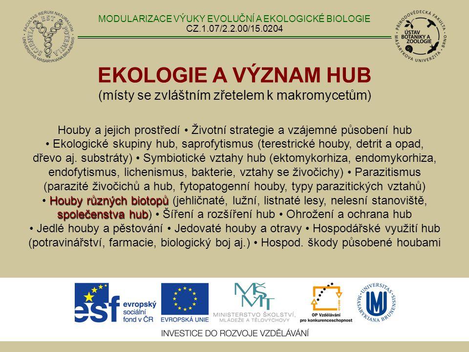 EKOLOGIE A VÝZNAM HUB (místy se zvláštním zřetelem k makromycetům) Houby různých biotopů společenstva hub Houby a jejich prostředí Životní strategie a