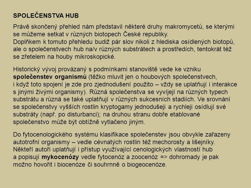 SPOLEČENSTVA HUB Právě skončený přehled nám představil některé druhy makromycetů, se kterými se můžeme setkat v různých biotopech České republiky. Dop