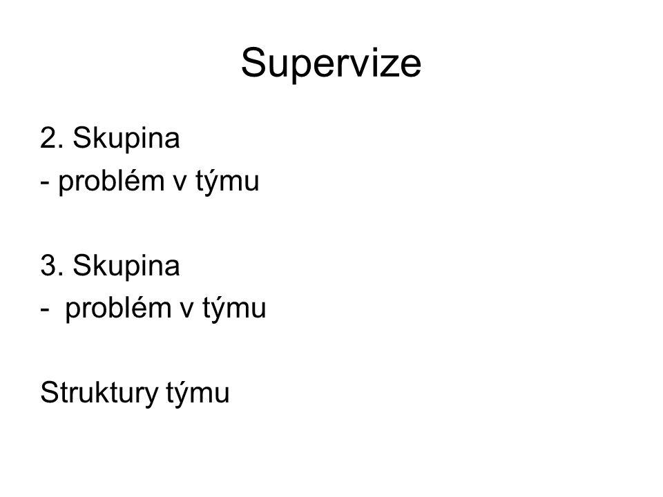 Supervize 2. Skupina - problém v týmu 3. Skupina -problém v týmu Struktury týmu