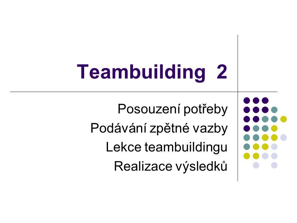 Posouzení potřeby V tomto kroku je důležité určit přesný původ problémů a otázek, které by se měly na lekci teambuildingu řešit: Definování cíle Výběr metody pro sběr a vyhodnocení dat Sběr dat Analýza informací Identifikace témat a otázek, které působí problémy