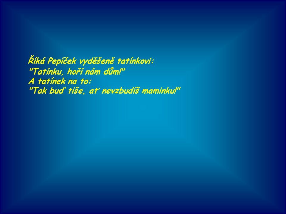 Říká Pepíček vyděšeně tatínkovi: Tatínku, hoří nám dům! A tatínek na to: Tak buď tiše, ať nevzbudíš maminku!