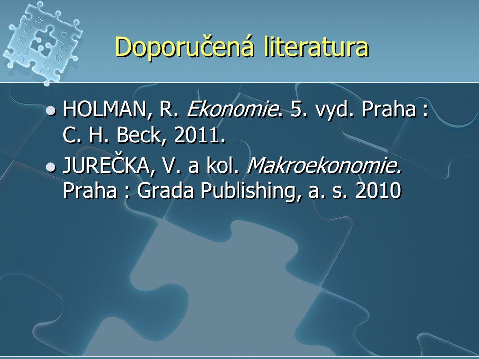 Doporučená literatura HOLMAN, R. Ekonomie. 5. vyd.