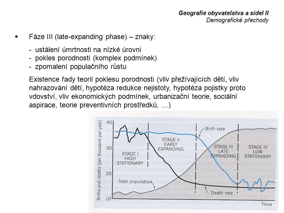  Fáze III (late-expanding phase) – znaky: - ustálení úmrtnosti na nízké úrovni - pokles porodnosti (komplex podmínek) - zpomalení populačního růstu E
