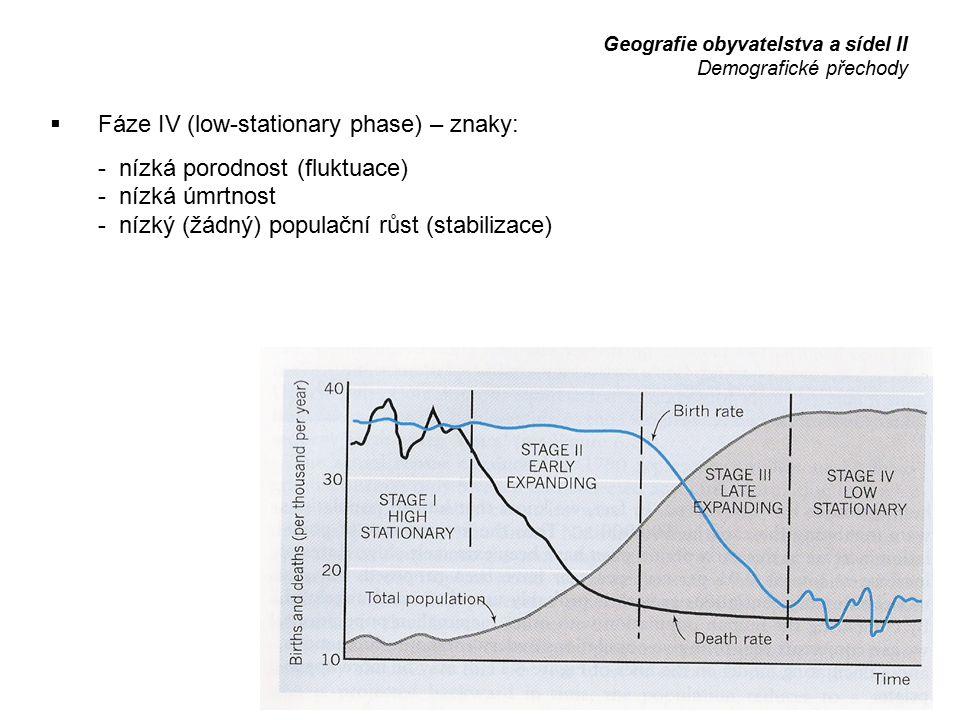  Fáze IV (low-stationary phase) – znaky: - nízká porodnost (fluktuace) - nízká úmrtnost - nízký (žádný) populační růst (stabilizace) Geografie obyvat