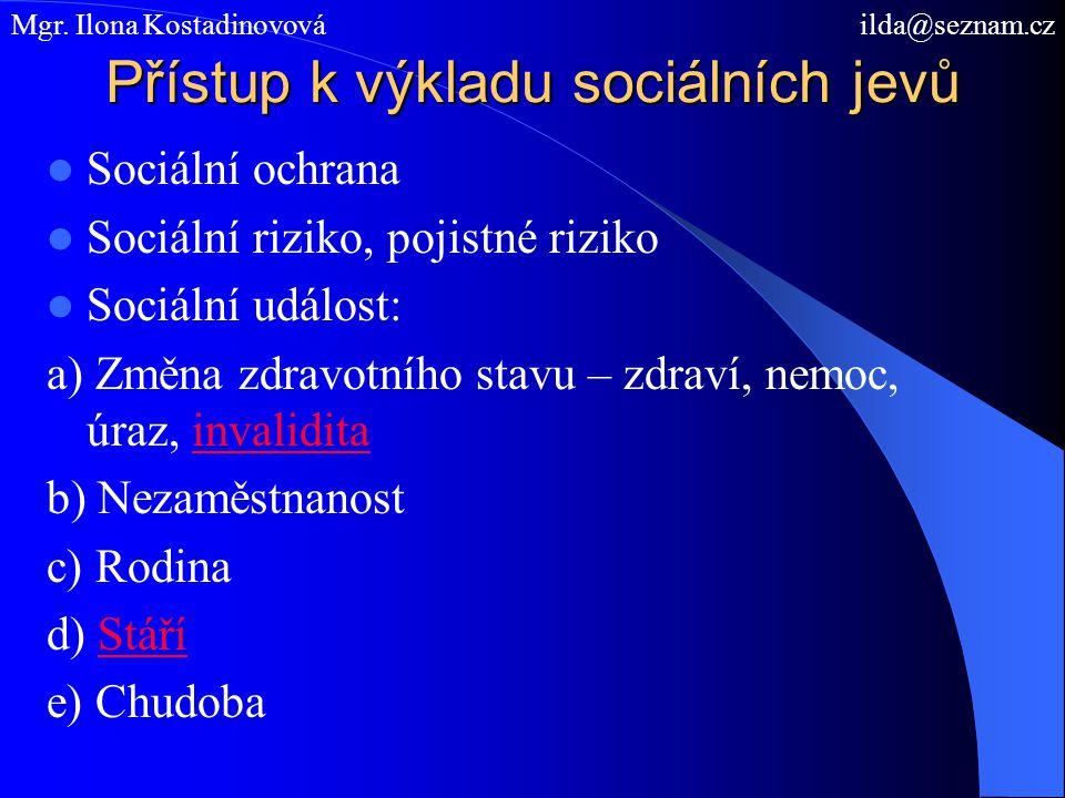 Přístup k výkladu sociálních jevů Sociální ochrana Sociální riziko, pojistné riziko Sociální událost: a) Změna zdravotního stavu – zdraví, nemoc, úraz