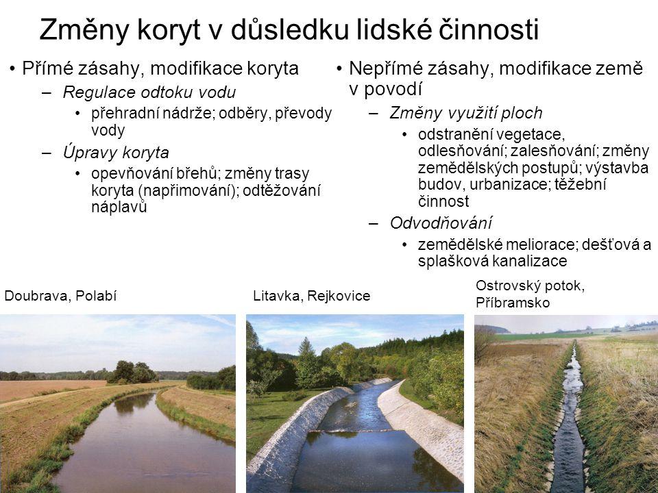 Změny koryt v důsledku lidské činnosti Přímé zásahy, modifikace koryta –Regulace odtoku vodu přehradní nádrže; odběry, převody vody –Úpravy koryta ope